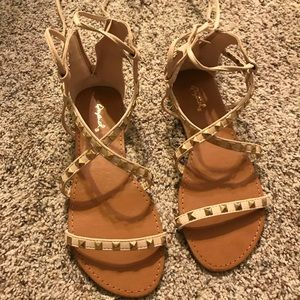 Gorgeous lace up tan sandals